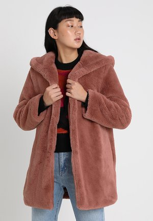 LADIES HOODED TEDDY COAT - Winter coat - darkrose