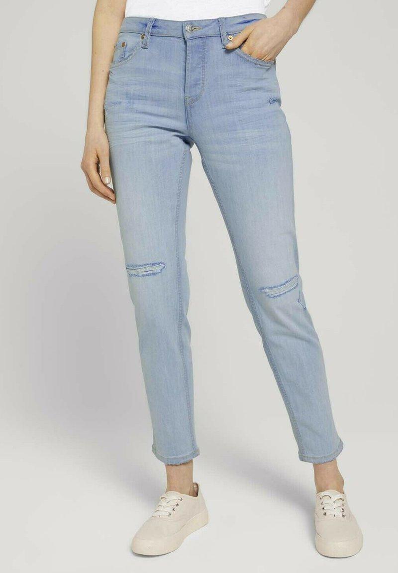 TOM TAILOR DENIM - Slim fit jeans - destroyed light stone blue den