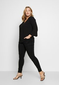 Evans - FRONT FRILL SLEEVE  - Camicetta - black - 1