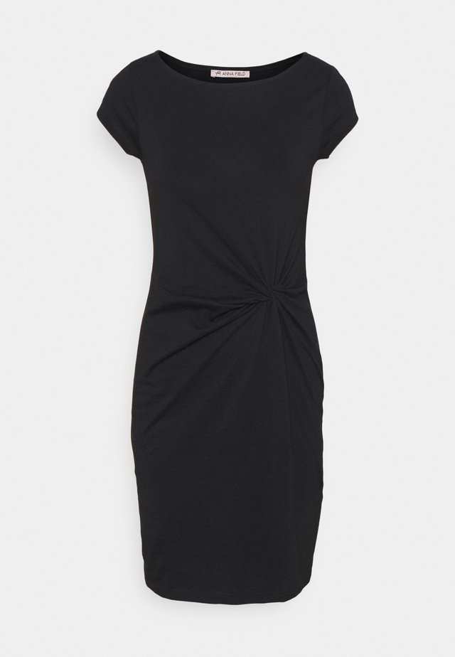 Short sleeves mini dress with knot at waist - Jerseykleid - black