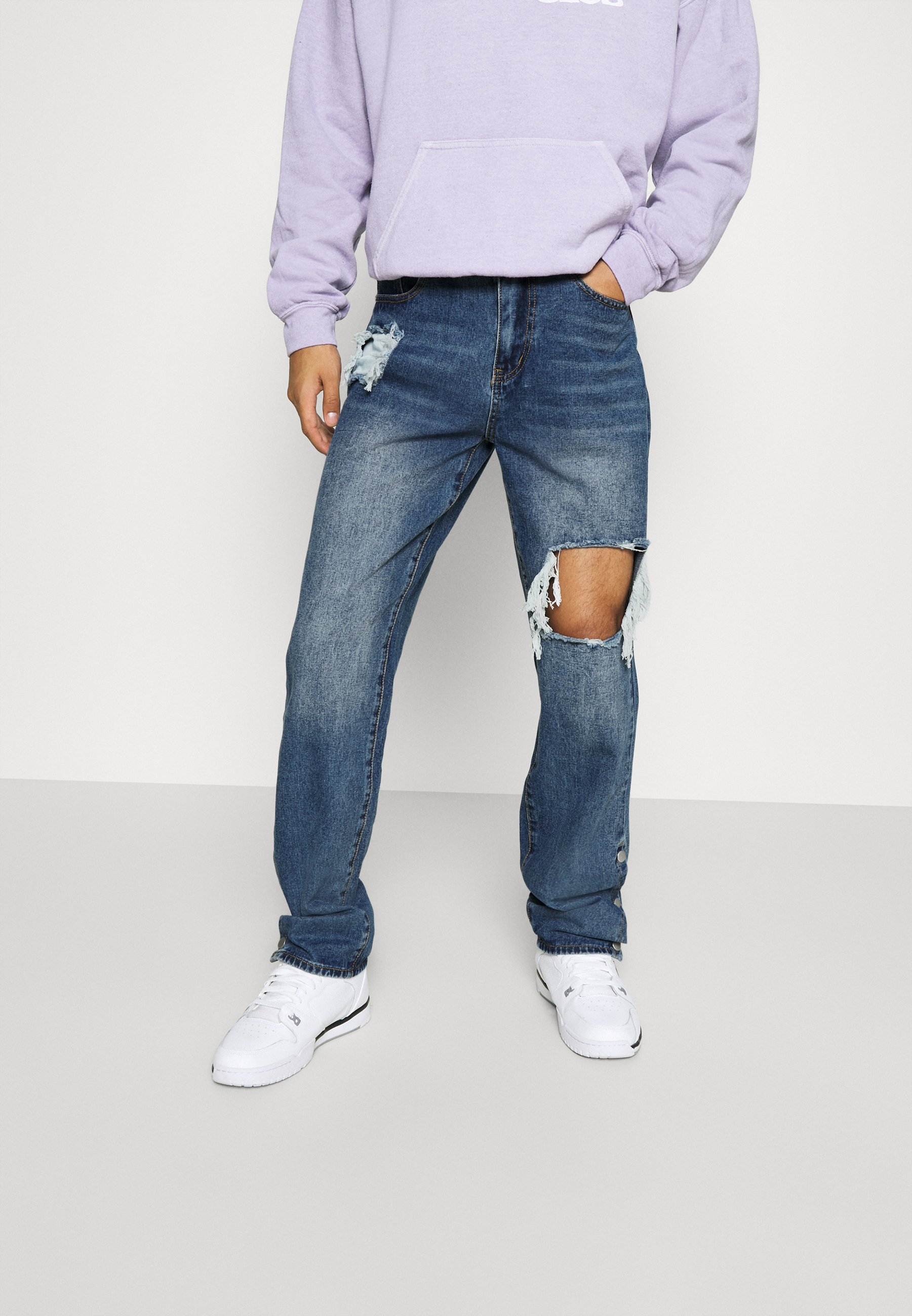 Uomo RIPPED LOOSE FIT POPPER - Jeans baggy