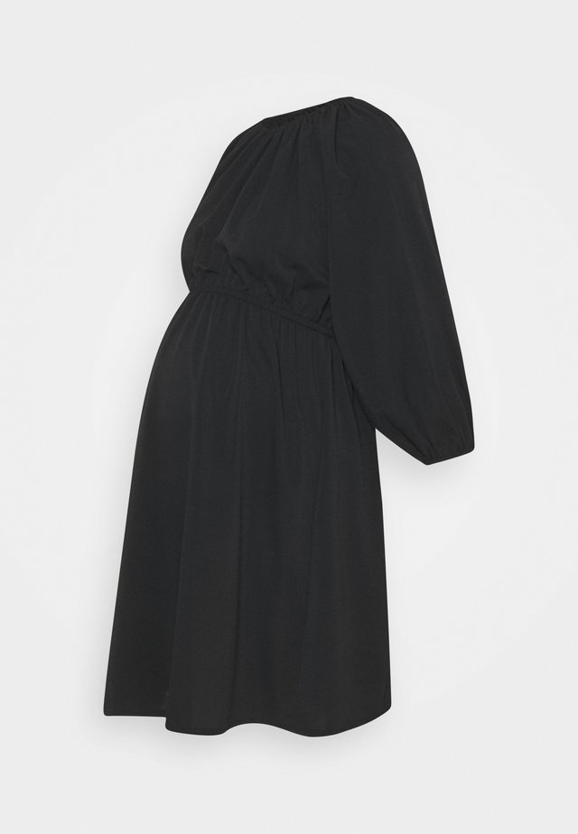 PUFF SLEEVE PLAIN DRESS - Vestido informal - black