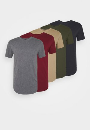 MATT 5 PACK - Basic T-shirt - black/dark grey/beige/bordeaux/dark green