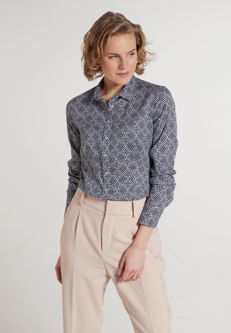 Eterna - MODERN CLASSIC - Button-down blouse - marine/weiß