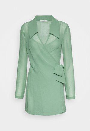 CRUSH WRAP COLLAR DRESS - Shift dress - sage