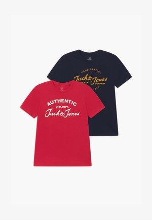 JJHERO TEE CREW NECK 2 PACK - T-Shirt print - navy blazer/tango red