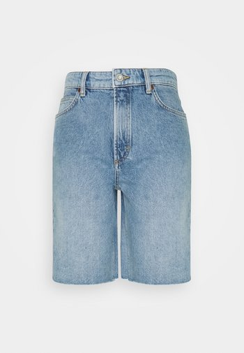HIGH WAIST RELAXED FIT MID LENGTH - Shorts di jeans - blue denim