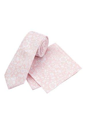 PINK FLORAL SILK TIE AND POCKET SQUARE SET - Kravata - pink