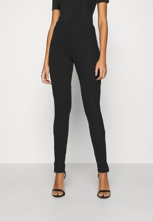 ZIP SLIT PANTS - Legginsy - offblack