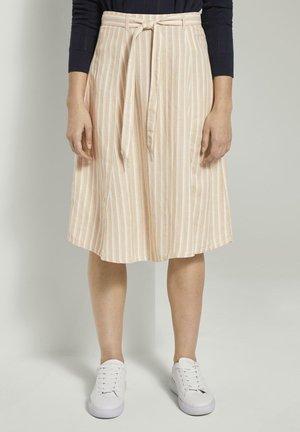 RÖCKE GESTREIFTER MIDIROCK AUS LEINENGEMISCH - A-line skirt - cream toffee offwhite stripe