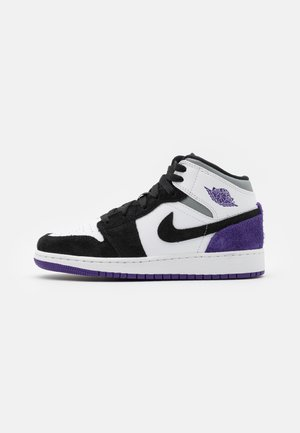 AIR 1 MID SE - Obuwie do koszykówki - white/court purple/black/particle grey/hot punch