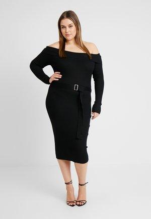 ROLL NECK BELTED MIDI DRESS - Vestido de tubo - black