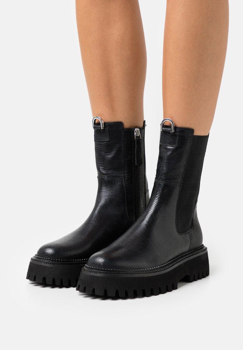 Zign - LEATHER - Platform ankle boots - black