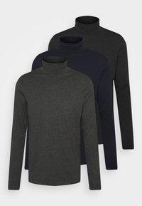 3 PACK - Long sleeved top - dark blue/black/dark grey