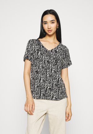 VMNADS V NECK BLOUSE - T-shirts med print - birch/black