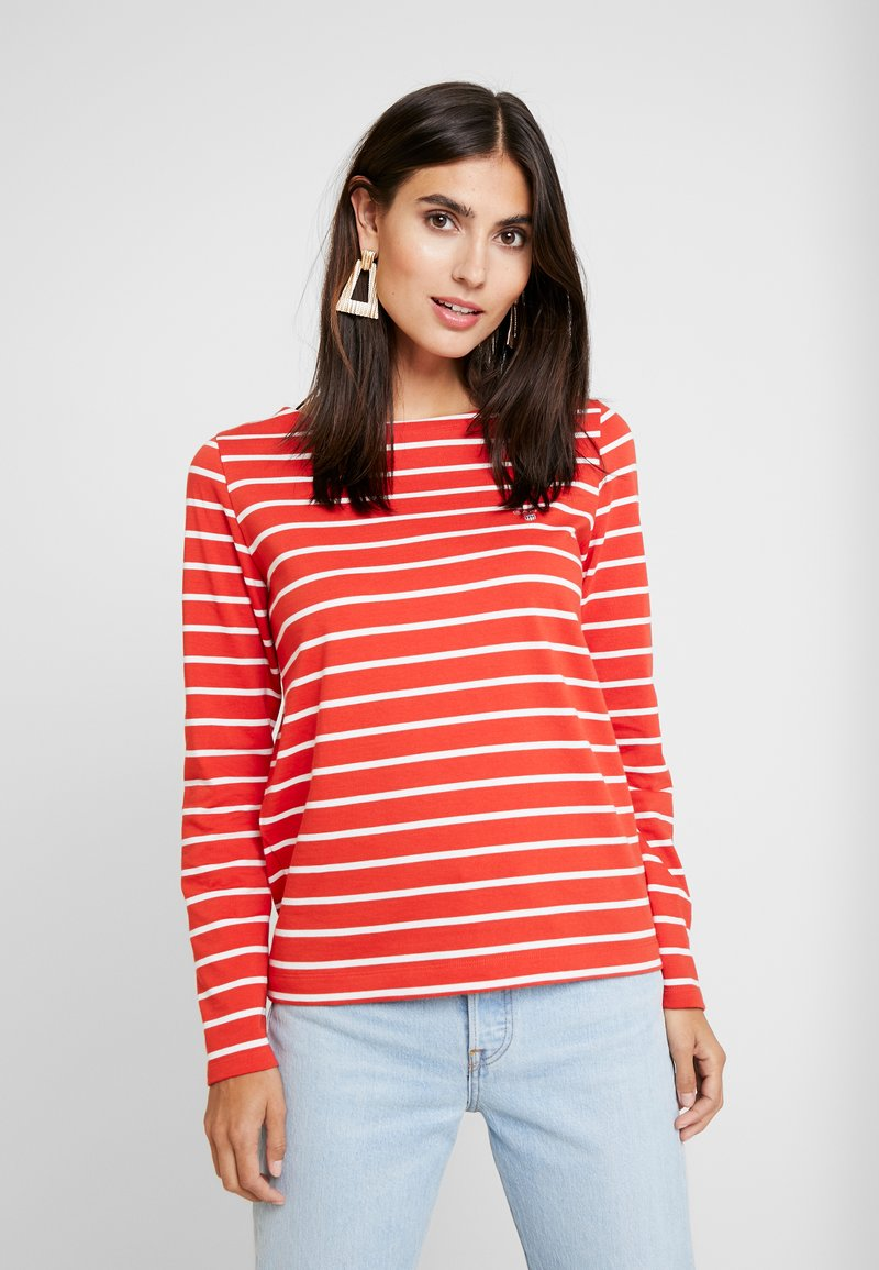 GANT - BRETON STRIPE BOATNECK JUMPER - Long sleeved top - blood orange