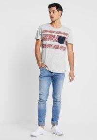 edc by Esprit - PLACED STRIPE - Print T-shirt - light grey - 1