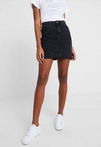 New Look - MOM SKIRT - Denim skirt - black - 0