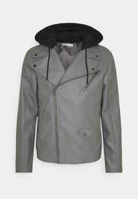 Nominal - HOODED BIKE JACKET - Faux leather jacket - grey - 5