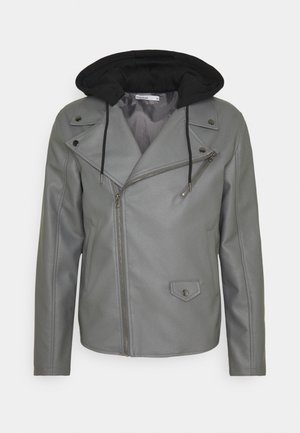 HOODED BIKE JACKET - Kunstlederjacke - grey