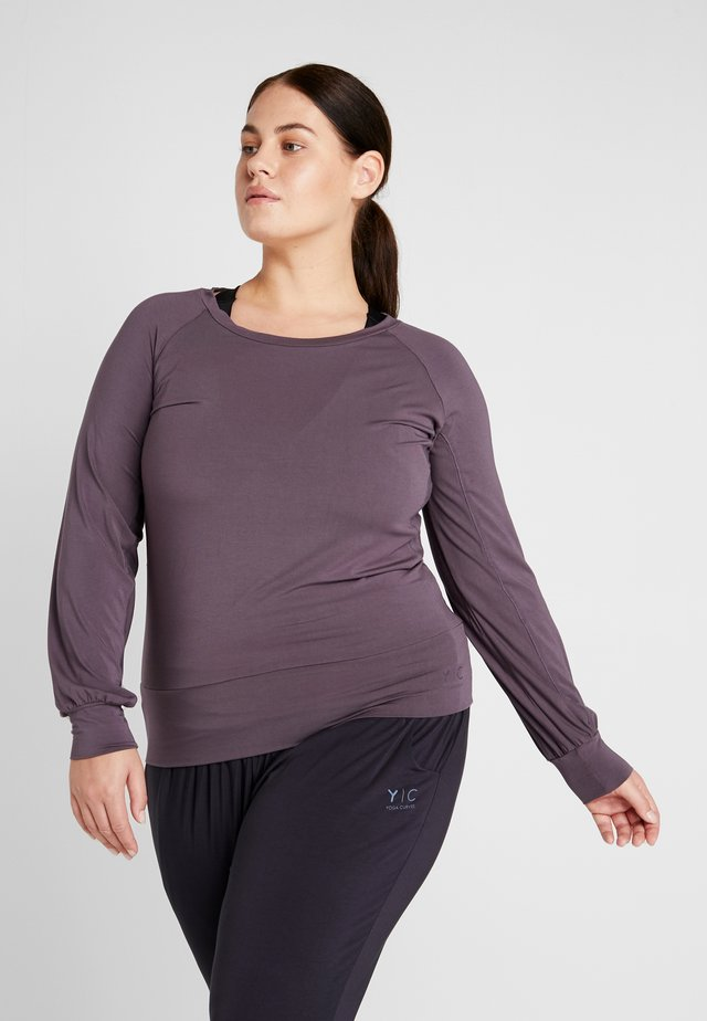 BOAT NECK - Long sleeved top - aubergine