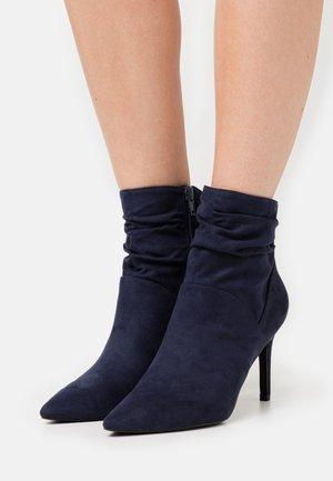 High heeled ankle boots - dark blue