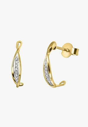 14 CT GOLD, DIAMOND 0,04CT - Earrings - zilverkleurig/goud
