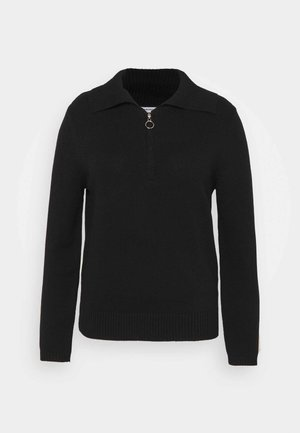 HALF ZIP JUMPER - Jumper - black