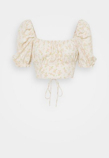 CARE TIE BACK CROP WITH PUFF SLEEVES AND SQUARE NECKLINE - Blouse - stone ditsy floral