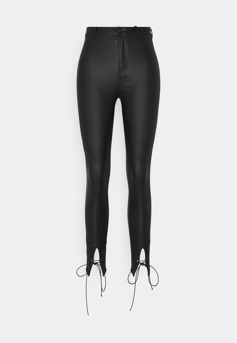 Missguided Petite - COATED TIE DETAIL VICE - Trousers - black