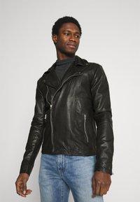 Goosecraft - BERLINER BIKER - Leather jacket - black - 0