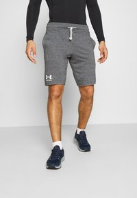 Under Armour - RIVAL TERRY SHORT - Träningsshorts - pitch gray full heather - 0
