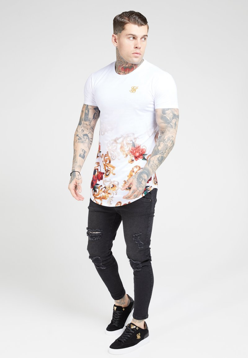 SIKSILK - CURVED HEM FADE TEE - T-shirt con stampa - white