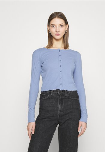 CORI CROP BUTTON THROUGH - Cardigan - vintage blue