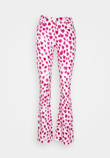 EVA PRINTED TROUSERS - Flared Jeans - white/pink