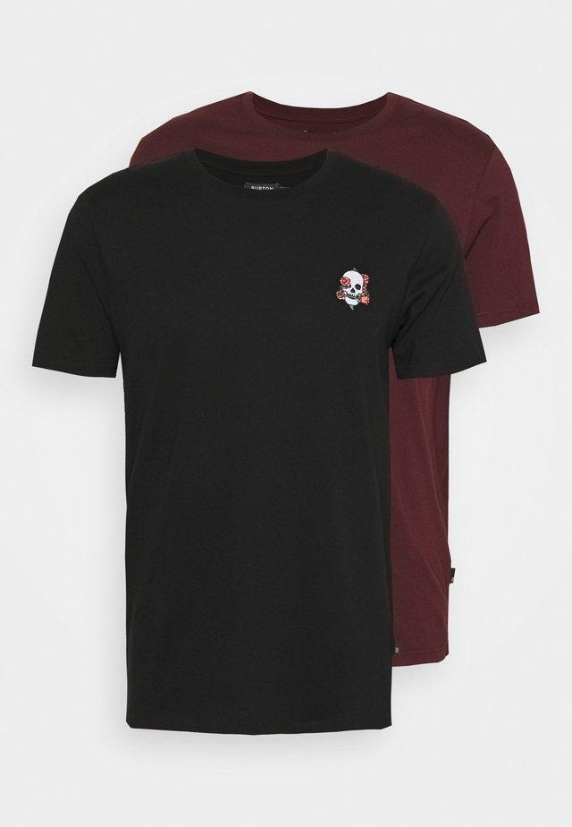 T-shirt basic - black, bordeaux