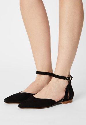 LEATHER - Ankle strap ballet pumps - black