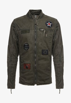 BE THEO PAT - Džínová bunda - khaki