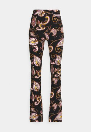 PAISLEY PEACHED FLARE PANTS - Trousers - black