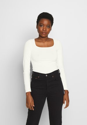 CARREE NECK LONGSLEEVE - T-shirt à manches longues - gardenia white