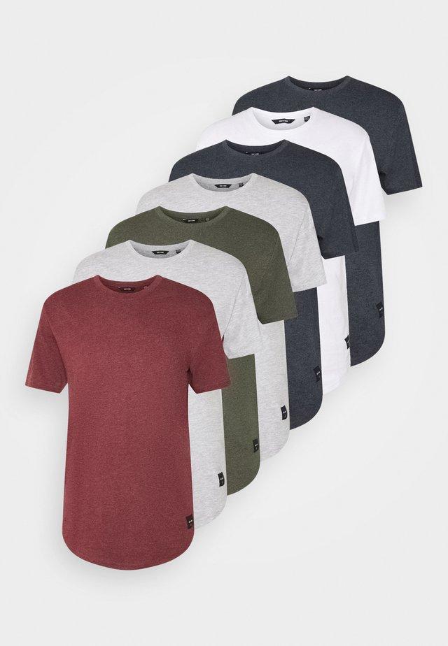 MATT 7 PACK - T-shirts - light red melange/light grey melange/green melan/anthracite melange/white