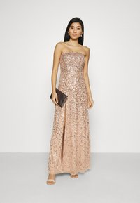 Maya Deluxe - DELICATE SEQUIN DRESS WITH DETACHABLE CAPE - Iltapuku - taupe blush - 1