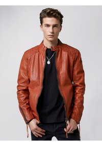 Tigha - NERO - Leather jacket - sunrise orange - 0