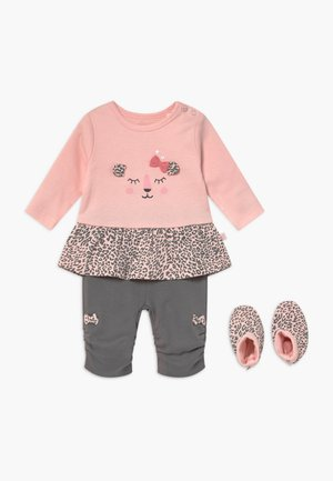 SET - Legíny - light pink/dark grey