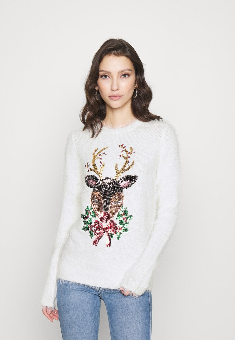 Fashion Union - CHRISTMAS REINDEER FACE - Jumper - white