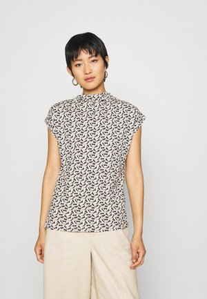 MOCK NECK - Print T-shirt - vanilla