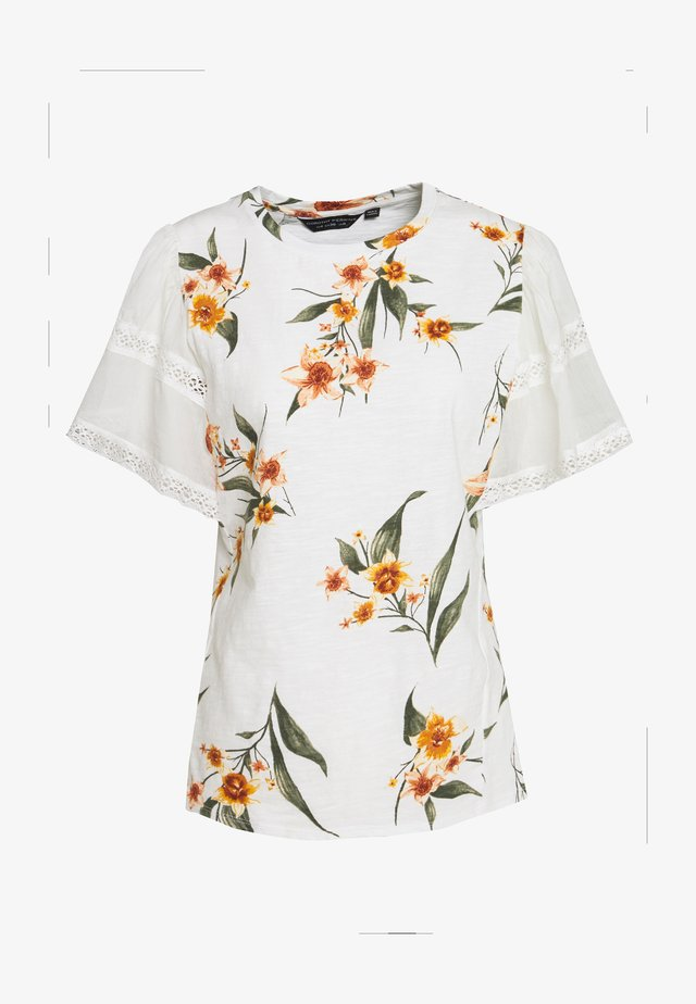 CONTRAST SLEEVE PRINTED TEE - Print T-shirt - white