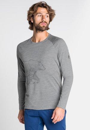 ALLIANCE - Long sleeved top - grey melange - bear print