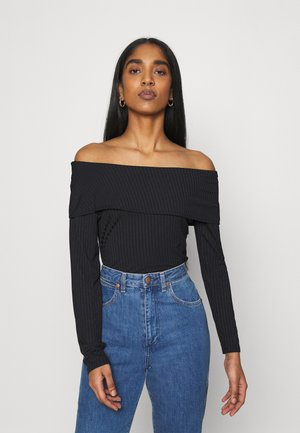 BARE SHOULDER FOLD BODY - Long sleeved top - black