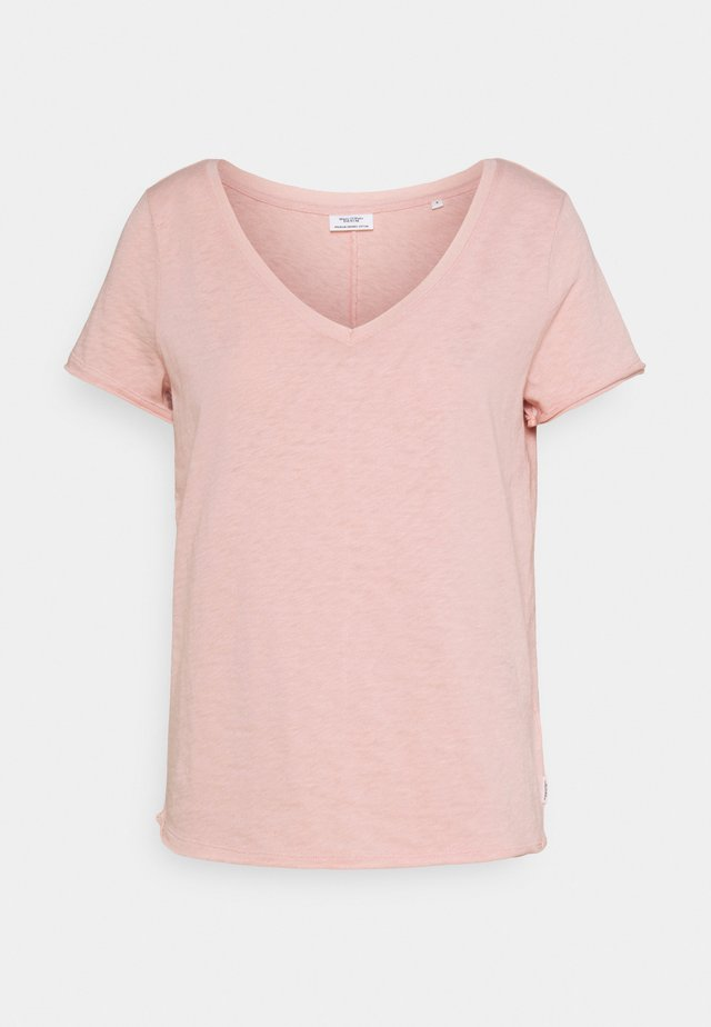 SHORTSLEEVED V NECK - T-shirt - bas - rose smoke